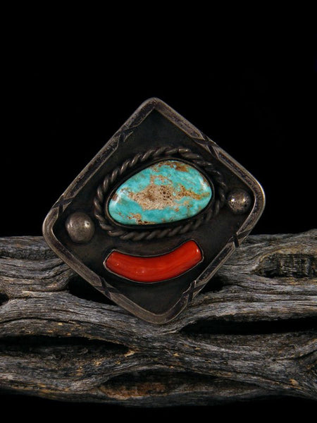 Old Navajo Turquoise and Coral Ring, Size 7 1/2