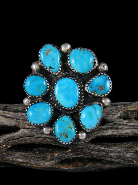 Vintage Sterling Silver Cluster Turquoise Ring, Size 8