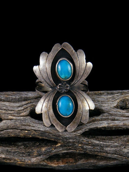 Estate Native American Sterling Silver Turquoise Ring, Size 4.5