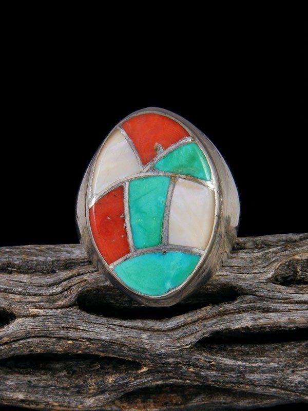 Vintage Native Inlay Sterling Silver Ring, Size 8 1/2