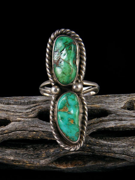Old Native American Sterling Silver Turquoise Ring, Size 6.5
