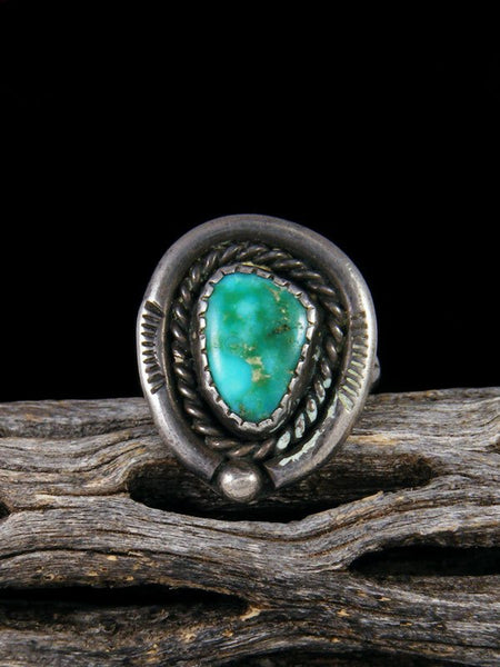 Vintage Navajo Sterling Silver Turquoise Ring, Size 4 1/2