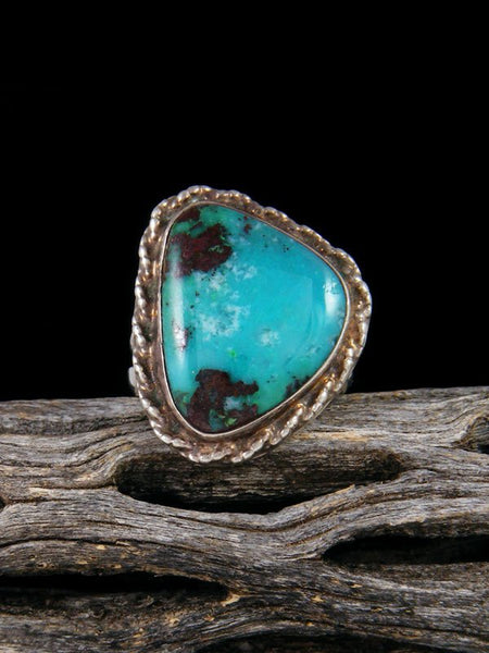 Vintage Native American Sterling Silver Turquoise Ring, Size 5 1/2