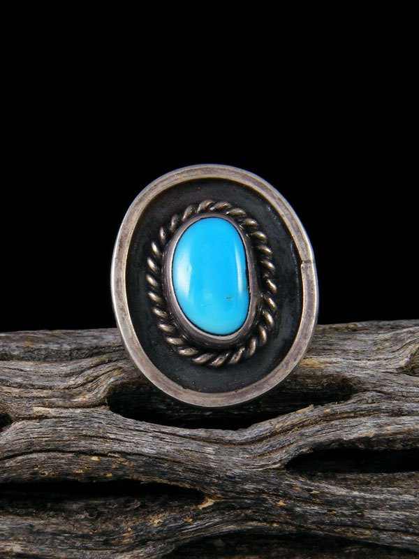 Old Pawn Native American Sterling Silver Turquoise Ring, Size 5 1/2
