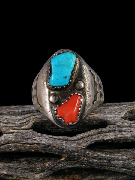 Estate Native American Turquoise and Coral Ring, Size 8 1/2