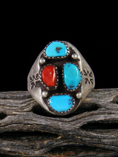 Vintage Native American Turquoise and Coral Ring, Size 9