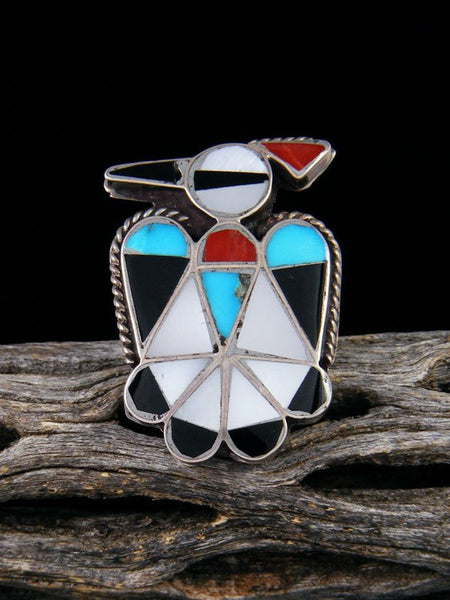 Vintage Zuni Inlay Thunderbird Sterling Silver Ring, Size 5