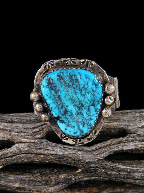 Estate Native American Sterling Silver Turquoise Ring, Size 9.5