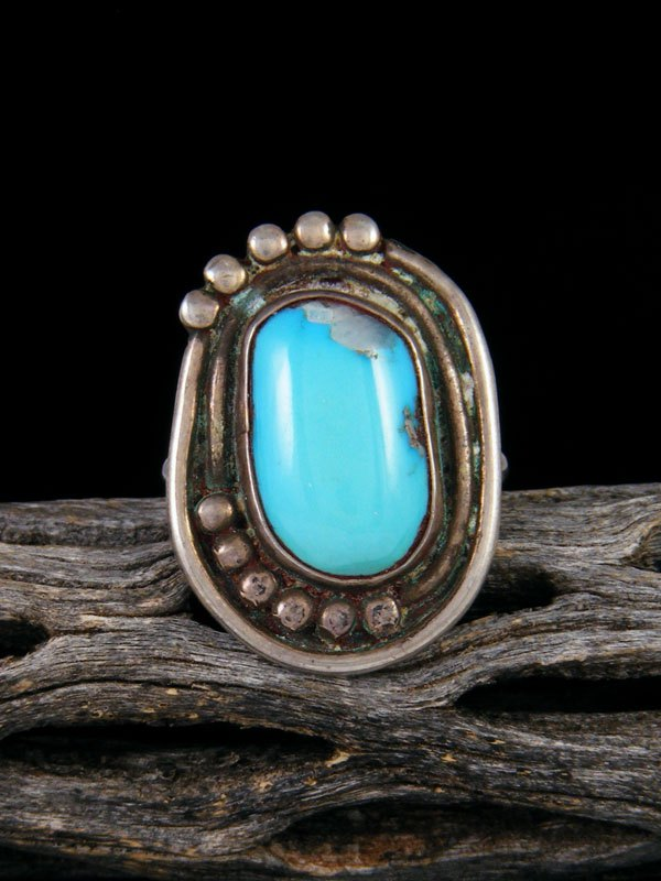 Vintage Sterling Silver Turquoise Ring, Size 9 1/2