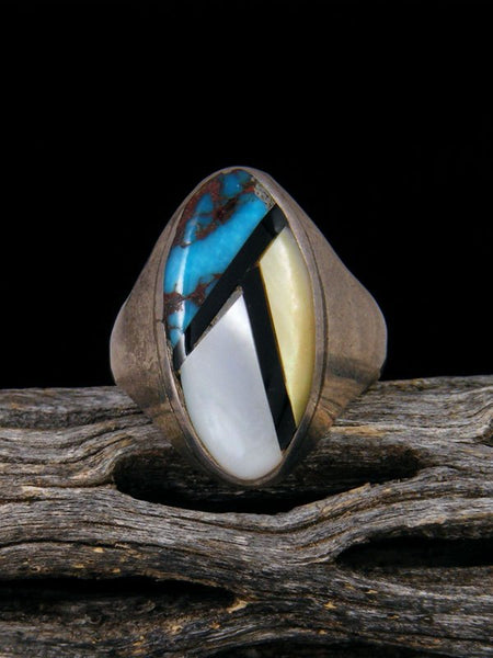 Vintage Zuni Inlay Sterling Silver Ring, Size 8 1/2