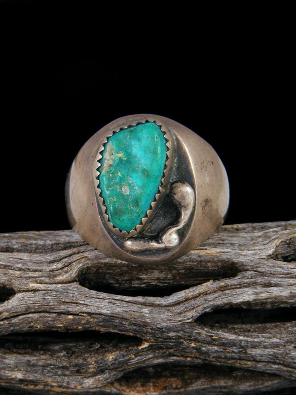 Vintage Native American Sterling Silver Turquoise Ring, Size 12