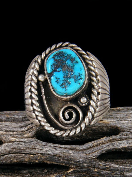 Estate Native American Sleeping Beauty Turquoise Ring, Size 10.5