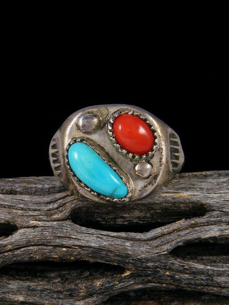 Vintage Native American Turquoise and Coral Ring, Size 10