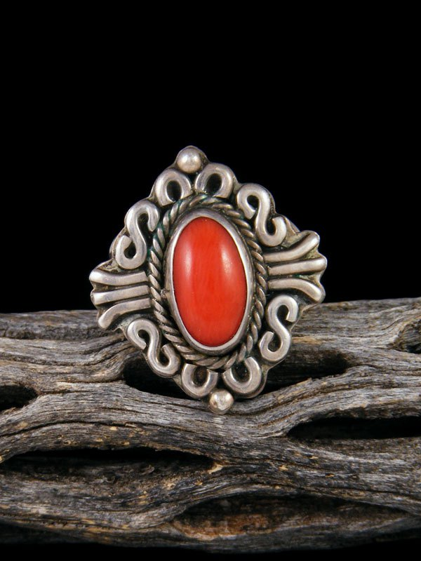 Estate Native American Sterling Silver Coral Ring, Size 7