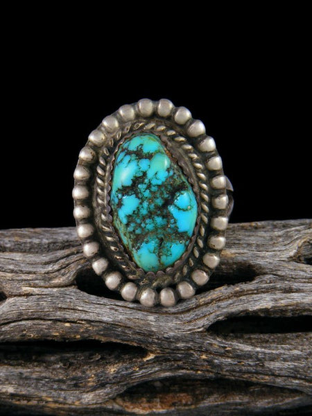 Old Sterling Silver Navajo Turquoise Ring, Size 6 1/2