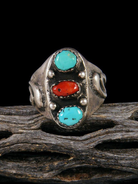 Vintage Turquoise and Coral Ring, Size 10 1/2