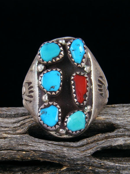 Estate Native American Sterling Silver Turquoise and Coral Ring, Size 10