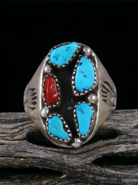 Estate Native American Sterling Silver Turquoise and Coral Ring, Size 10.5
