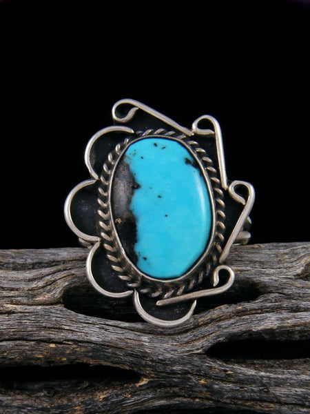 Estate Native American Sterling Silver Turquoise Ring, Size 8 1/2
