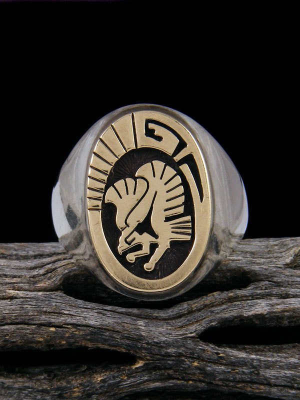 Estate Sterling Silver and Gold Overlay Eagle Ring, Size 12