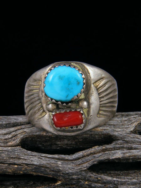 Estate Native American Sterling Silver Turquoise and Coral Ring, Size 11
