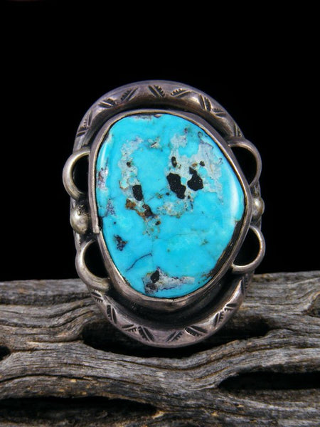 Estate Native American Sterling Silver Turquoise Ring, Size 7