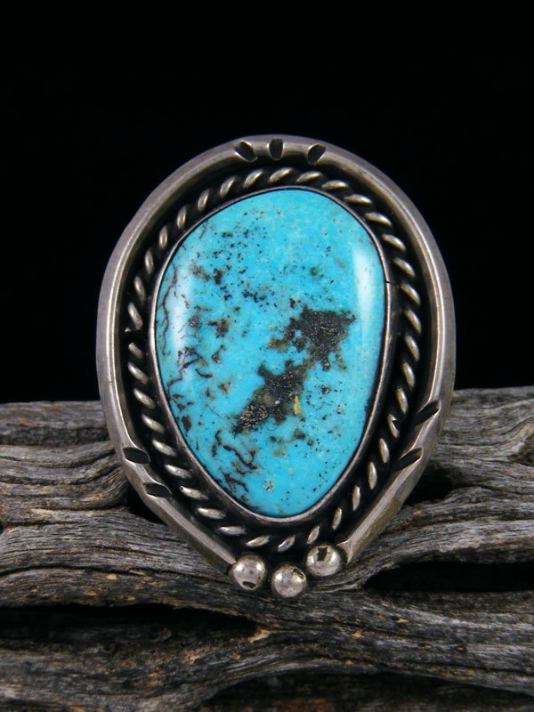 Estate Native American Sterling Silver Turquoise Ring, Size 8