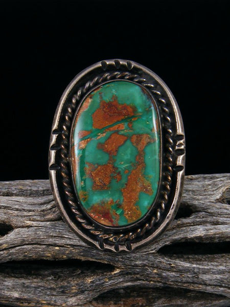 Estate Native American Sterling Silver Turquoise Ring, Size 6.5