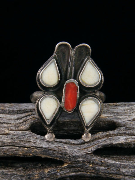 Estate Native American Sterling Silver Coral Butterfly Ring, Size 7 1/2