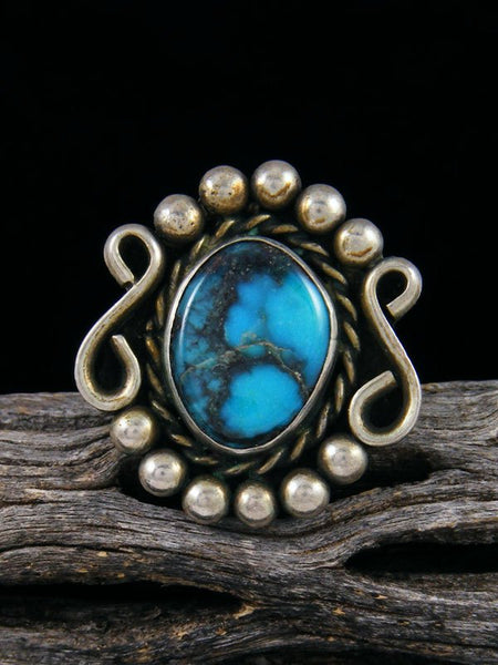 Old Pawn Turquoise Sterling Silver Ring Size 7