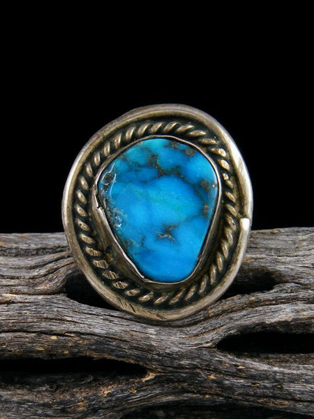Estate Turquoise Sterling Silver Ring Size 7 1/2