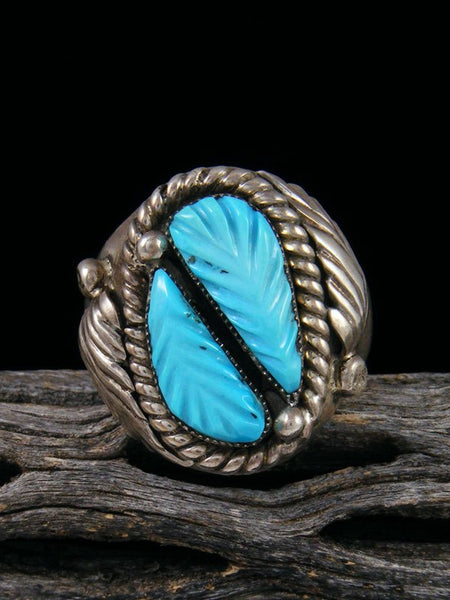 Vintage Native American Sterling Silver Carved Turquoise Ring, Size 11