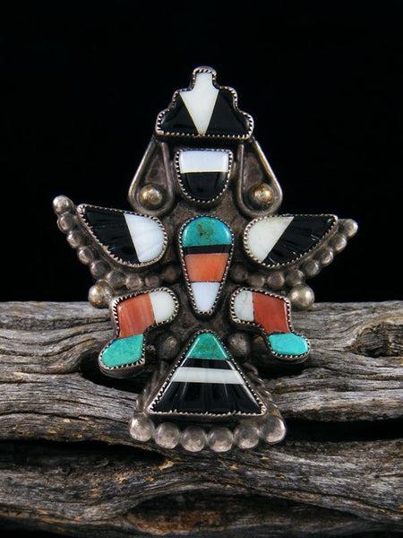 Old Pawn Knifewing Zuni Inlay Ring Size 6 1/2