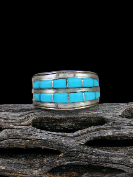Vintage Native American Sterling Silver Turquoise Inlay Ring, Size 7 3/4