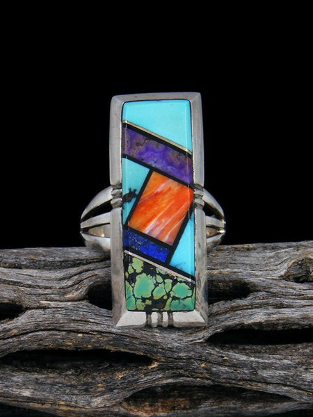 Old Pawn Native American Sterling Silver Inlay Ring, Size 8
