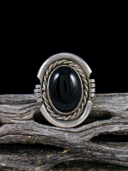 Vintage Native American Sterling Silver Onyx Ring, Size 5