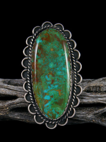 Estate Native American Sterling Silver Turquoise Ring, Size 10 1/2