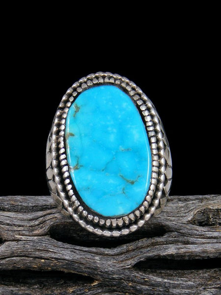Vintage Native American Sterling Silver Turquoise Ring, Size 10 1/2