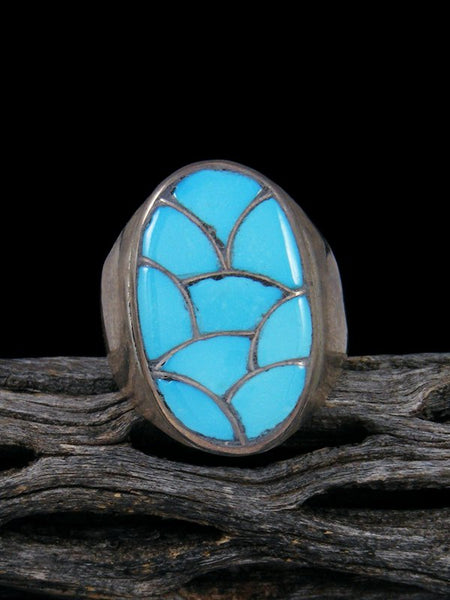 Old Pawn Native American Sterling Silver Turquoise Inlay Ring, Size 10 1/2