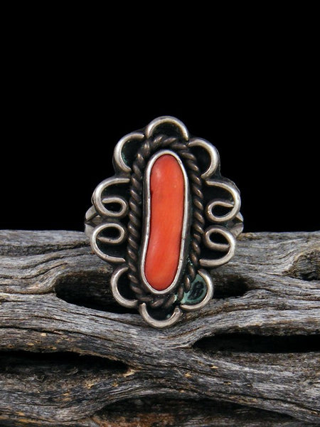 Estate Native American Sterling Silver Coral Ring, Size 6 1/2