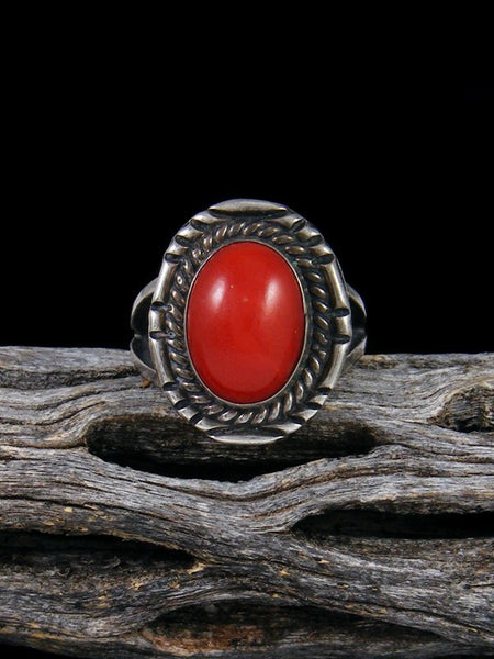 Vintage Native American Sterling Silver Coral Ring, Size 5 1/4