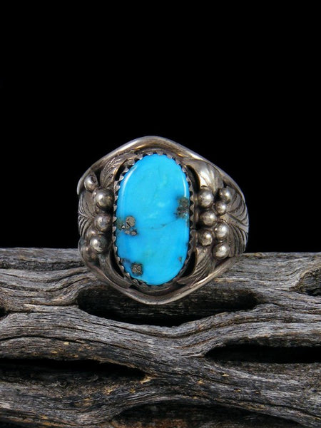 Vintage Native American Sterling Silver Turquoise Ring, Size 9