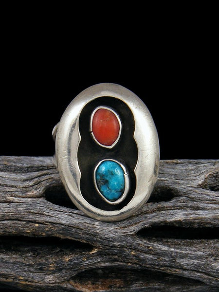 Estate Native American Sterling Silver Turquoise and Coral Ring, Size 7