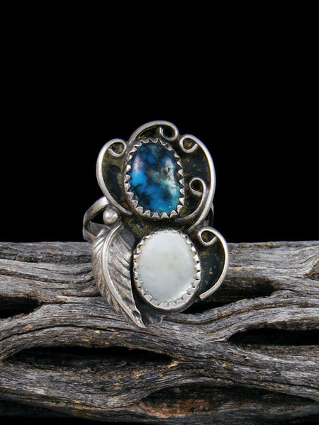 Vintage Native American Sterling Silver Mother of Pearl and Turquoise Ring, Size 5 1/2