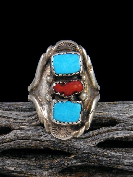 Old Pawn Native American Sterling Silver Turquoise and Coral Ring, Size 9