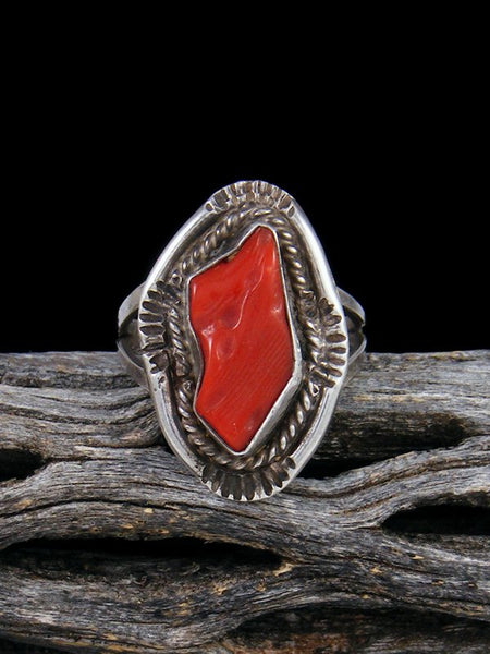 Old Pawn Native American Sterling Silver Coral Ring, Size 7