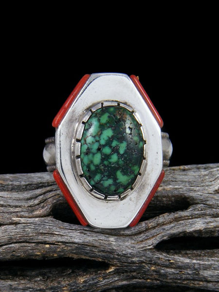 Vintage Native American Sterling Silver Turquoise and Coral Ring, Size 8 1/2