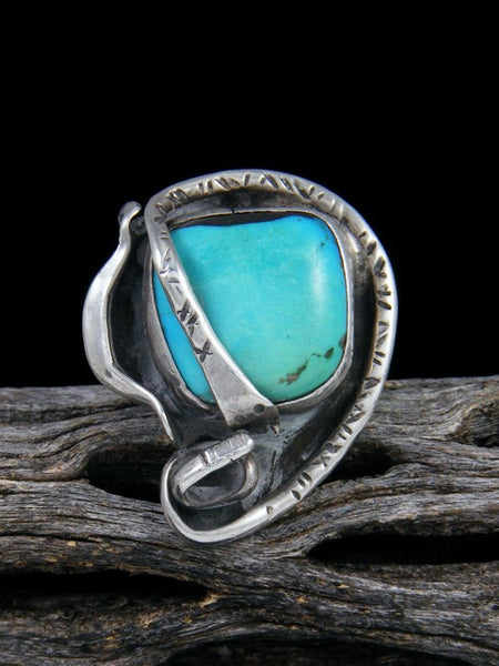 Vintage Native American Sterling Silver Turquoise Ring, Size 6 1/2