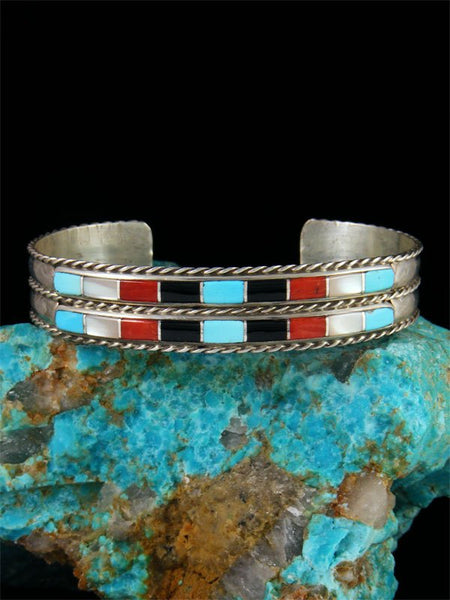 Estate Native American Zuni Inlay Multistone Bracelet