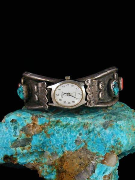 Old Pawn Indian Jewelry Sterling Silver Coral and Turquoise Cuff Watch